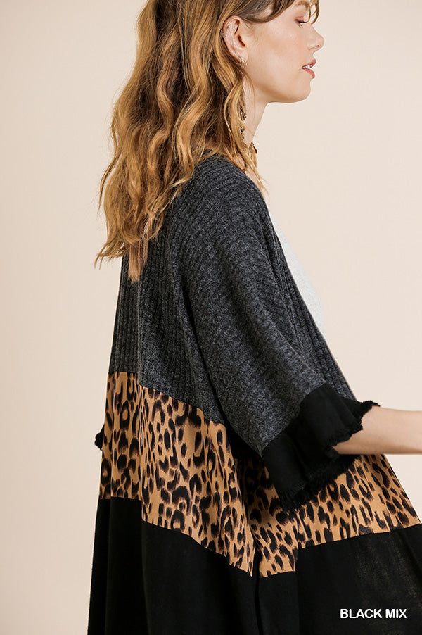 Umgee Bell Sleeve Animal Print Cardigan