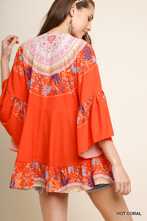 Coral Floral Print/Medallion Tunic W/Ruffle Sleeves