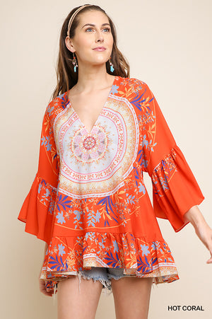 Umgee Coral Floral Print/Medallion Tunic W/Ruffle Sleeves