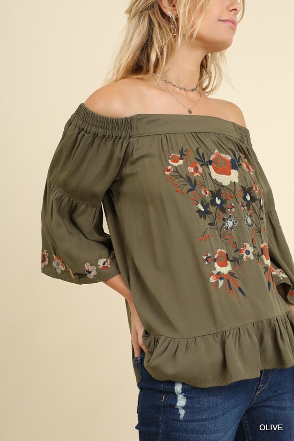 Umgee Spicy Sage Off Shoulder Top