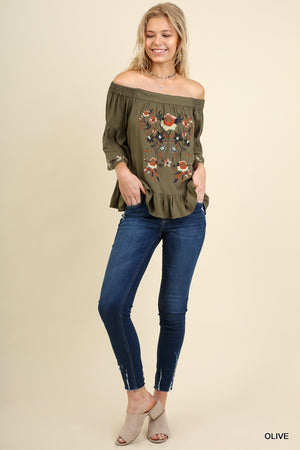 Umgee Spicy Sage Off Shoulder Embroidered Top