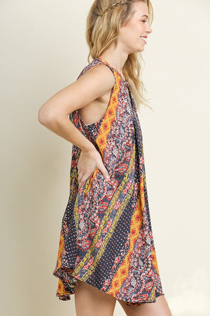 Umgee Pleated Multi-Print Dress Front & Back Keyholes