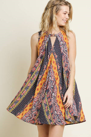 Umgee Pleated Multi-Print Multi-Color Dress Front & Back Keyholes
