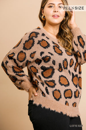 Plus Size Umgee Soft & Fuzzy Animal Print Sweater