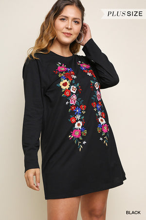 c5503bb8fed Plus Size Umgee Floral Tee Dress – Yellow Rose Mercantile