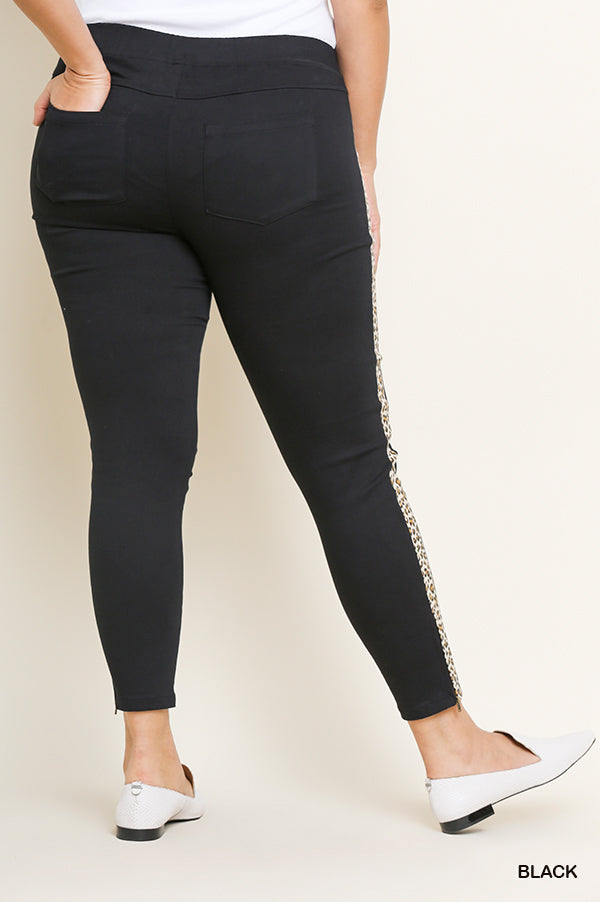 Plus Size Umgee Leopard Stipe Black Pants