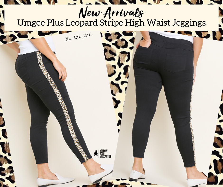 Plus Size Umgee Leopard Stripe Black Pants