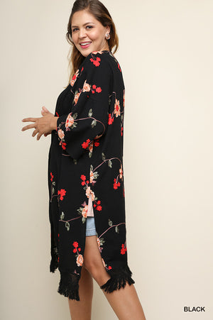 Plus Umgee Long Floral Embroidered Kimono
