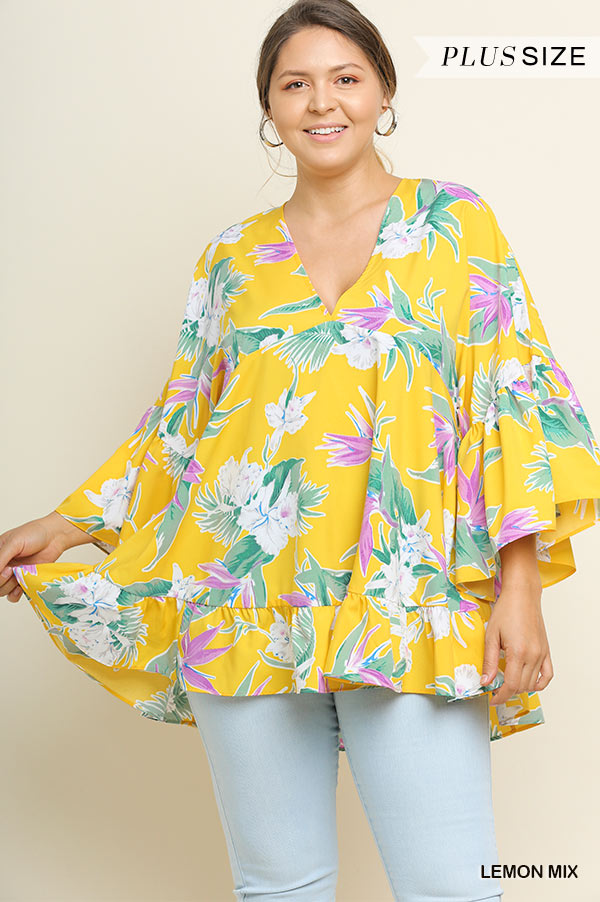 Plus Umgee Lemon Tropical Floral Print Babydoll Top