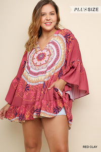 Plus Size Umgee Red Clay Medallion Tunic
