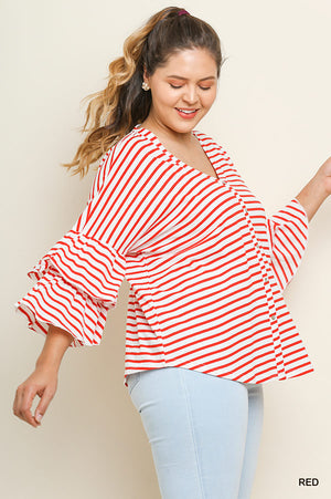 Umgee Plus Size Red/White Stripe Bell Sleeve Top