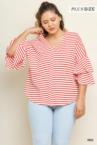 Plus Size Umgee Red/White Stripe Bell Sleeve Top