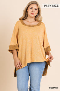 Umgee Plus Mustard Knit Top