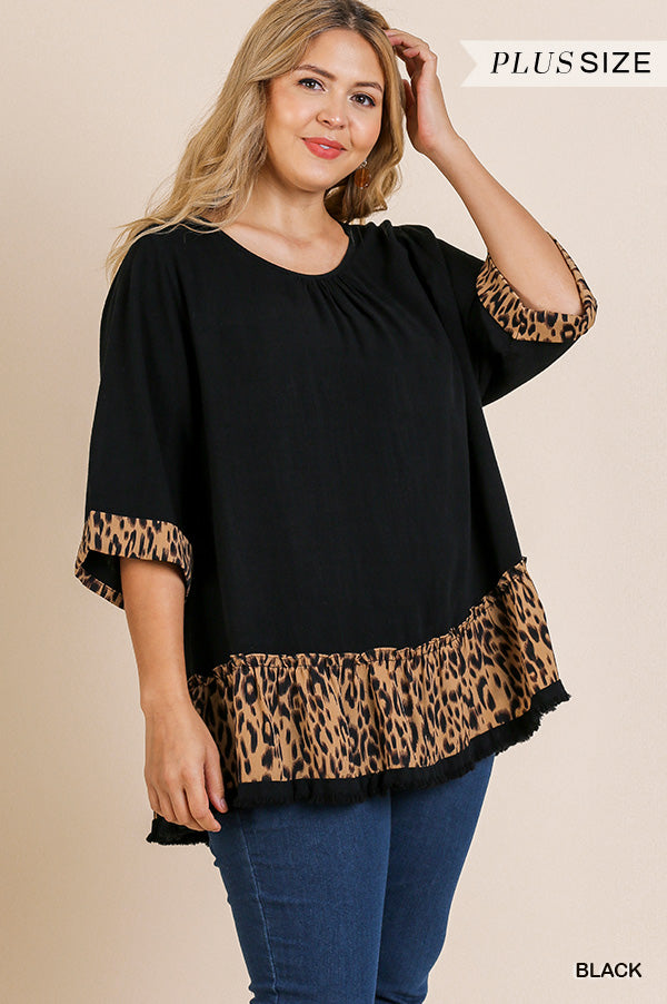Plus Size Umgee Black Animal Print Tunic