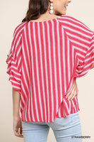 Umgee Red & White Stripe Top Layered Ruffle Sleeves