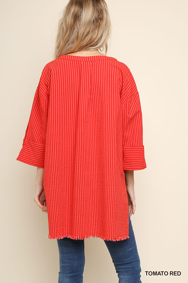 Umgee Red Stripe Tunic Fringe Hem
