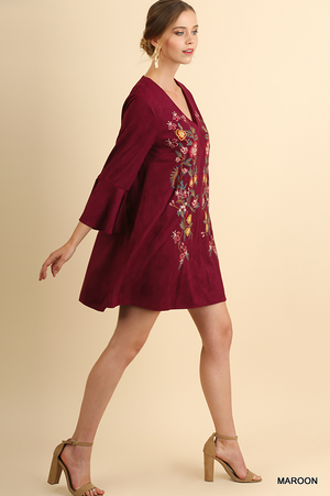 Umgee Burgundy Suede Ruffle Sleeve Dress