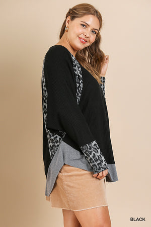 Plus Size Umgee Black/Animal Print Color Block Top