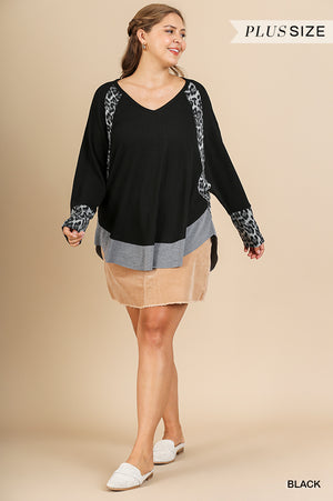 Plus Size Umgee Black/Animal Print Top