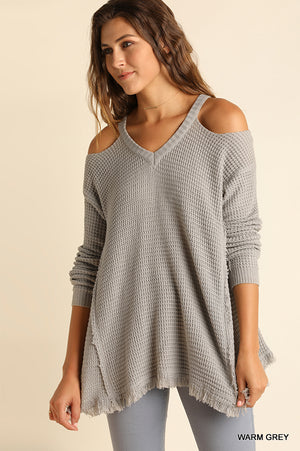 Warm Grey Cold Shoulder w/Frayed Hemline