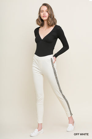 Umgee White Leopard Stretch Pants