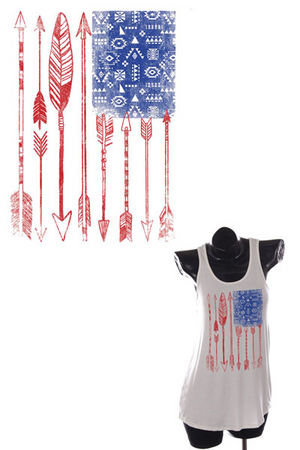 USA Flag Tank Top- White
