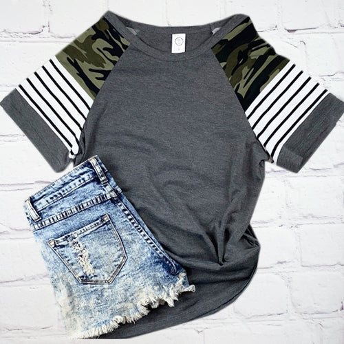 Plus Size Grey Top Camo/Stripe Sleeve