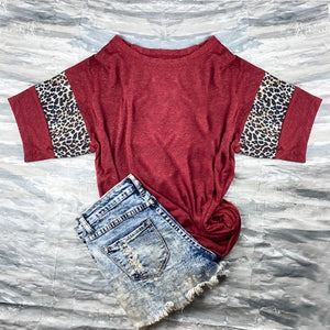 Plus Size Burgundy Cheetah Print Tee
