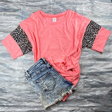 Coral Tee Cheetah Sleeves