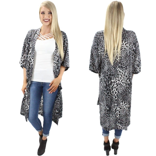 Dark Grey Leopard Print Duster