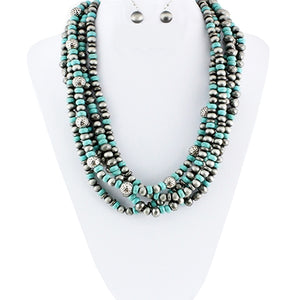 Silver/Turquoise Twisted Layered Necklace Set