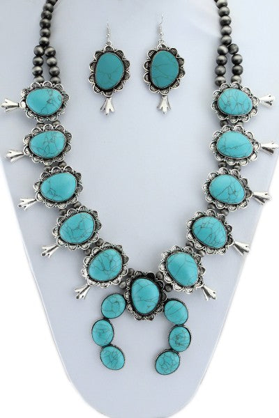 "Silver/Turquoise Squash Blossom 32"" Necklace Set"