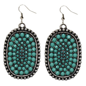 Silver/Turquoise Crystal Pendant Earrings