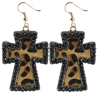 Dark Cross Leopard Hide Earrings