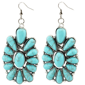 Turquoise/Silver Flower Earrings