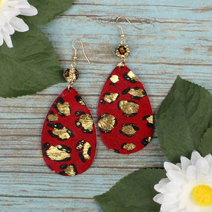 Red Leopard Print Earrings
