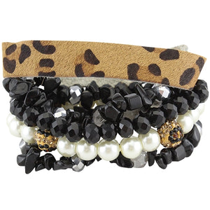 Leopard Hide/Black/White Stacked Bracelets