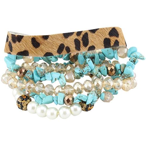 Leopard Hide/Turquoise/White Crystal Stack Bracelets