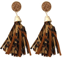 Druzzy Dark Leopard Tassel Earrings