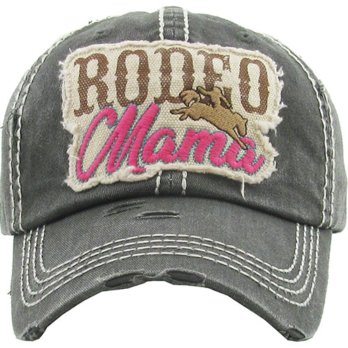 """RODEO MAMA"" Black Baseball Cap"