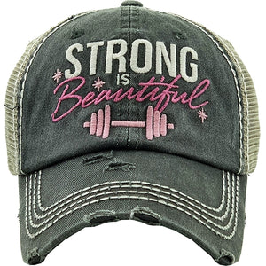 """STRONG IS BEAUTIFUL"" Black Baseball Cap"
