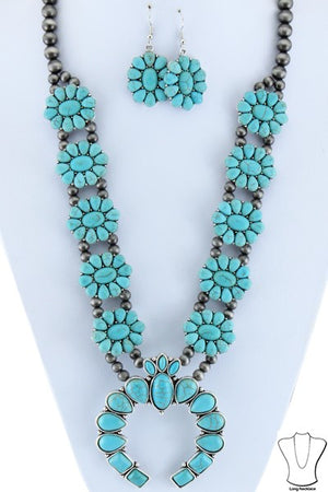 "Silver/Turquoise Floral 28"" Squaash Blossom Set"