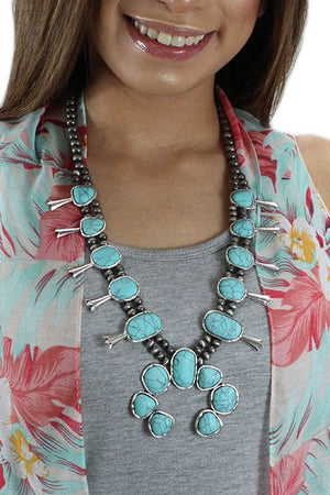 "Silver/Turquoise 28"" Squash Blossom Necklace Set"
