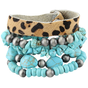 Leopard Hide/Silver/Turquoise Stacked Bracelets