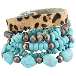 Leopard Hide/Copper/Turquoise Stacked Bracelets