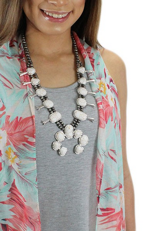 "Silver/Ivory 28"" Squash Blossom Necklace Set"
