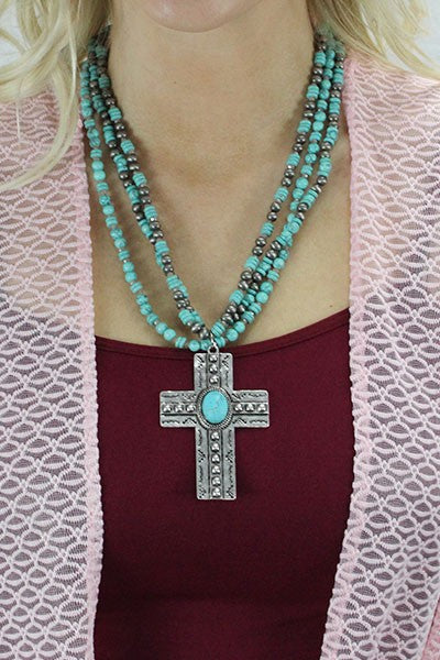 Turquoise/Silver Layered Beaded Cross Pendant