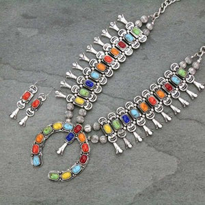 Multi-Color Full Squash Blossom Necklace