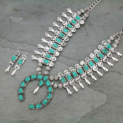 Turquoise Full Squash Blossom Necklace