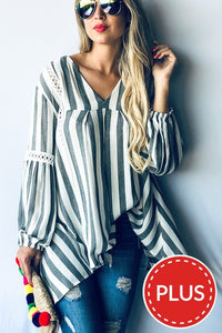 Plus Size Stripe Lace Trim Tunic